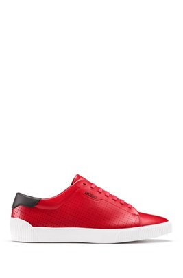 Lace-up sneakers in nappa leather with perforated details, Dark Red