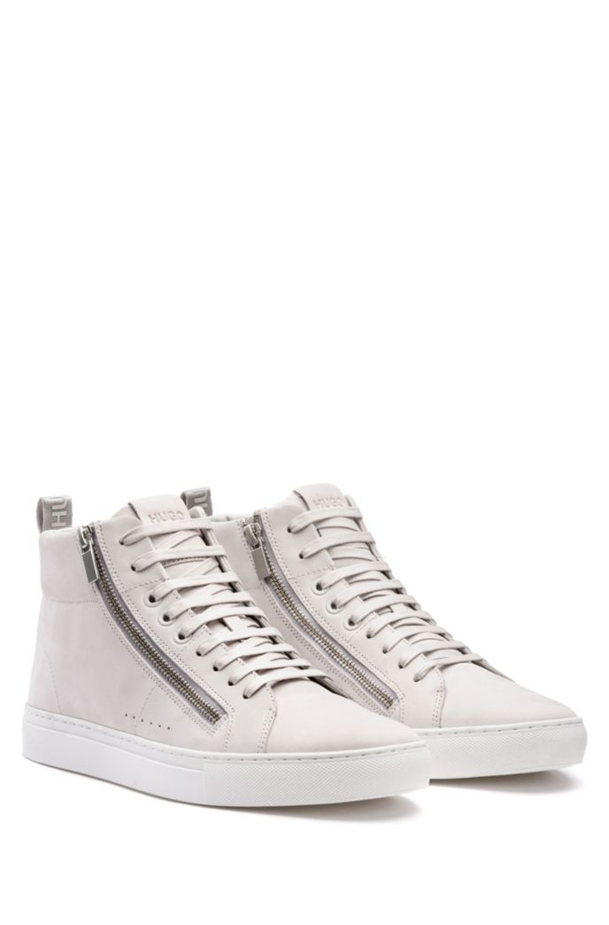 Zip-detail high-top sneakers in nubuck leather
