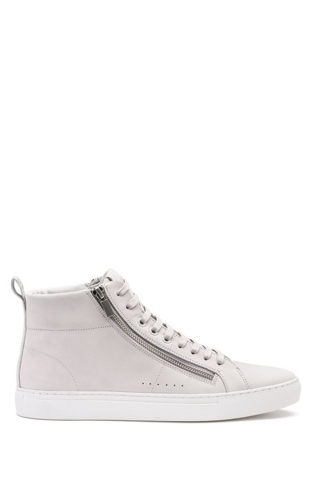 Zip-detail high-top sneakers in nubuck leather, Light Grey