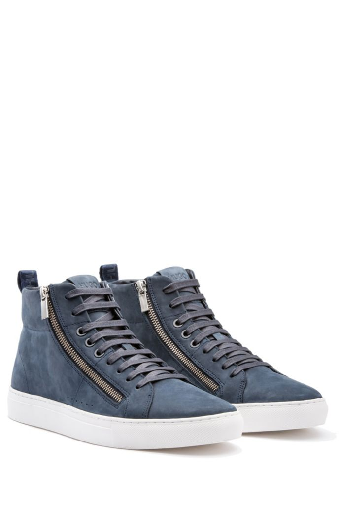 Zip-detail high-top sneakers in nubuck leather