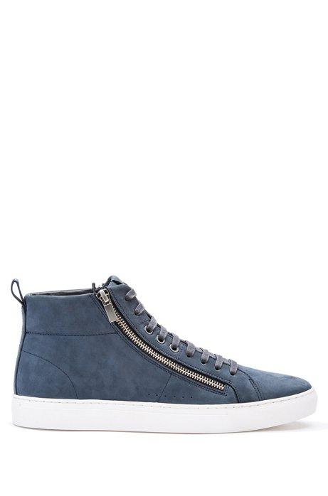 Zip-detail high-top sneakers in nubuck leather, Dark Blue