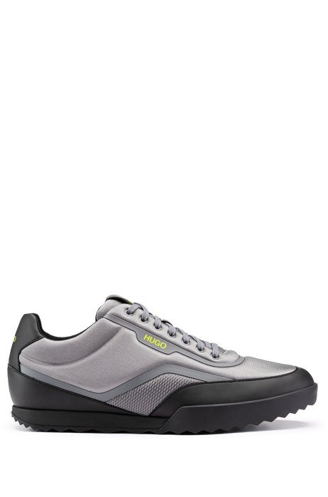 Lace-up low-profile sneakers with hybrid uppers, Grey