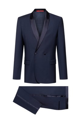 Slim-fit dinner suit in a virgin wool blend, Dark Blue