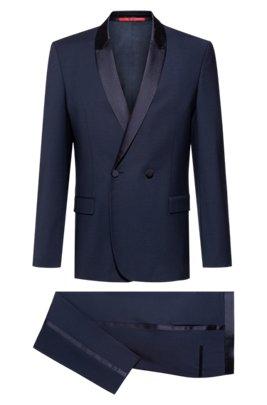 Slim-fit dinner suit in a virgin wool blend, Dark Blue