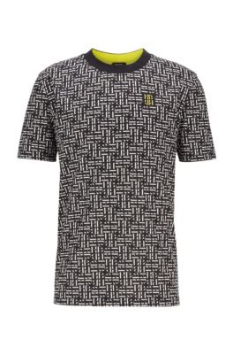 Mercerized-cotton T-shirt in relaxed-fit with monogram print, Black