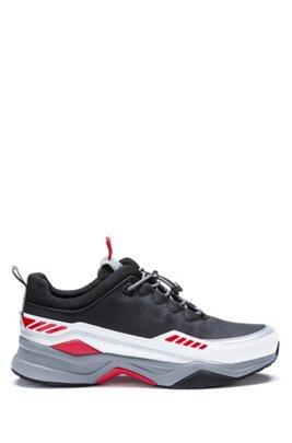 Baskets inspirées des chaussures de course, avec détails colorés, Noir
