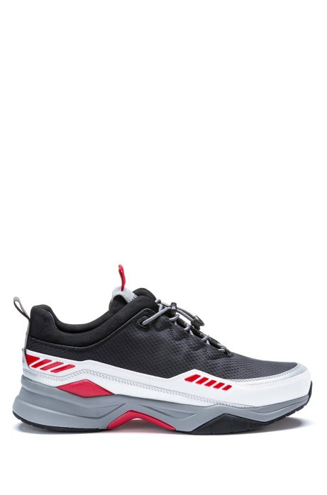 Running-inspired sneakers with pop-color accents, Black