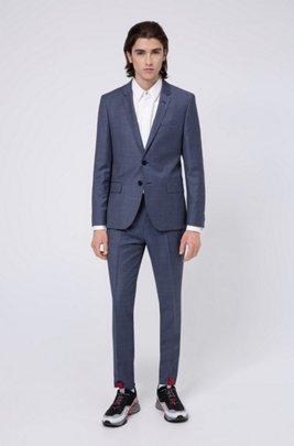 Extra-slim-fit suit in micro-patterned virgin wool, Dark Blue