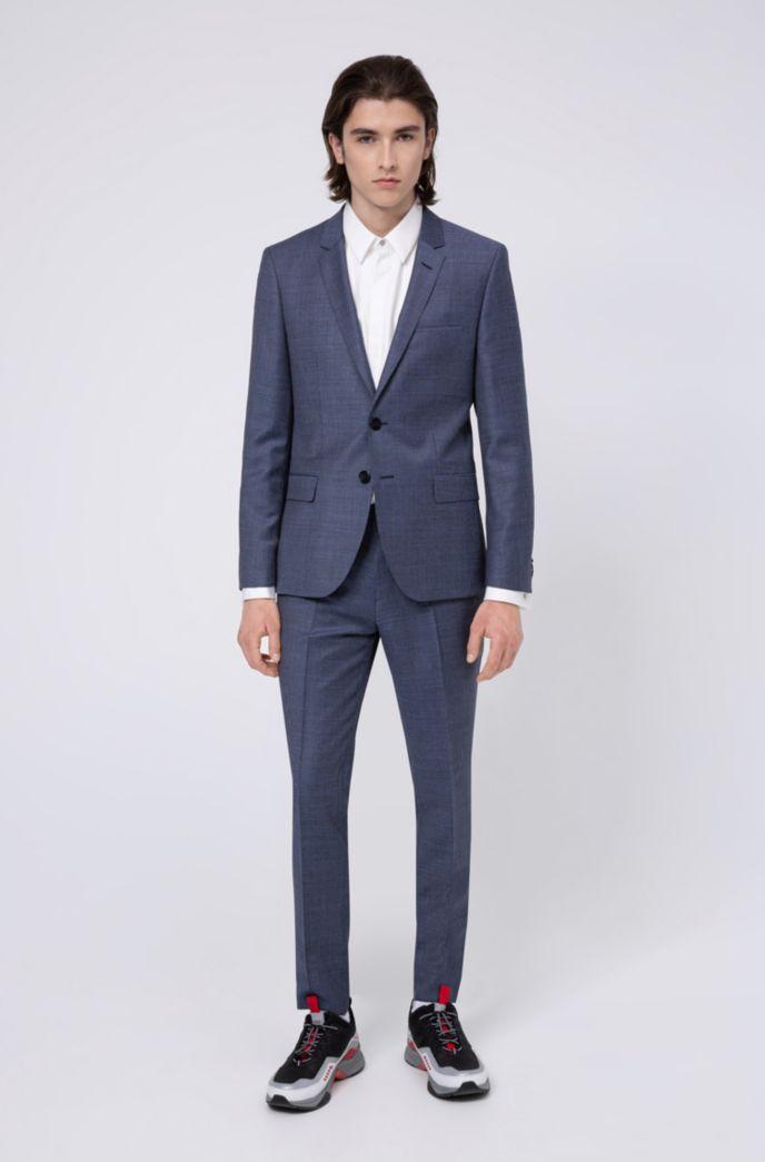 Extra-slim-fit suit in micro-patterned virgin wool