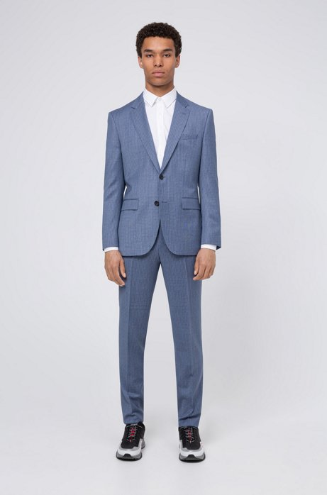 Regular-fit suit in geometric-check virgin wool, Turquoise