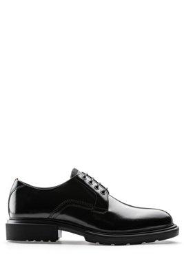 Chaussures derby en cuir poli à semelle crantée EVA, Noir