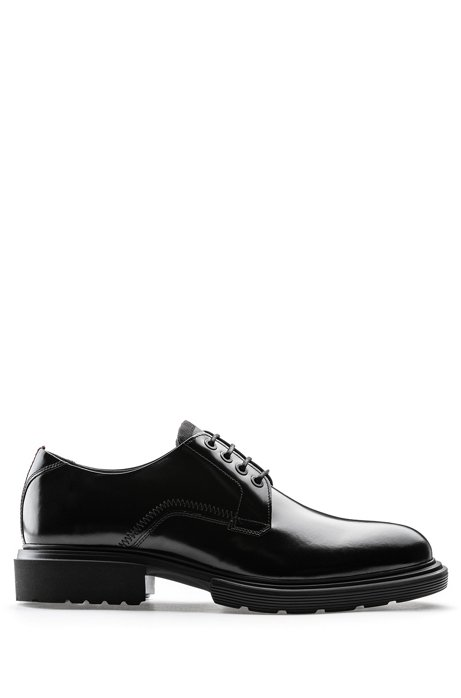 Polished-leather Derby shoes with EVA lug sole, Black