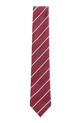 Handmade tie in diagonal-stripe silk jacquard, Purple