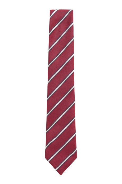Handmade tie in diagonal-stripe silk jacquard, Purple