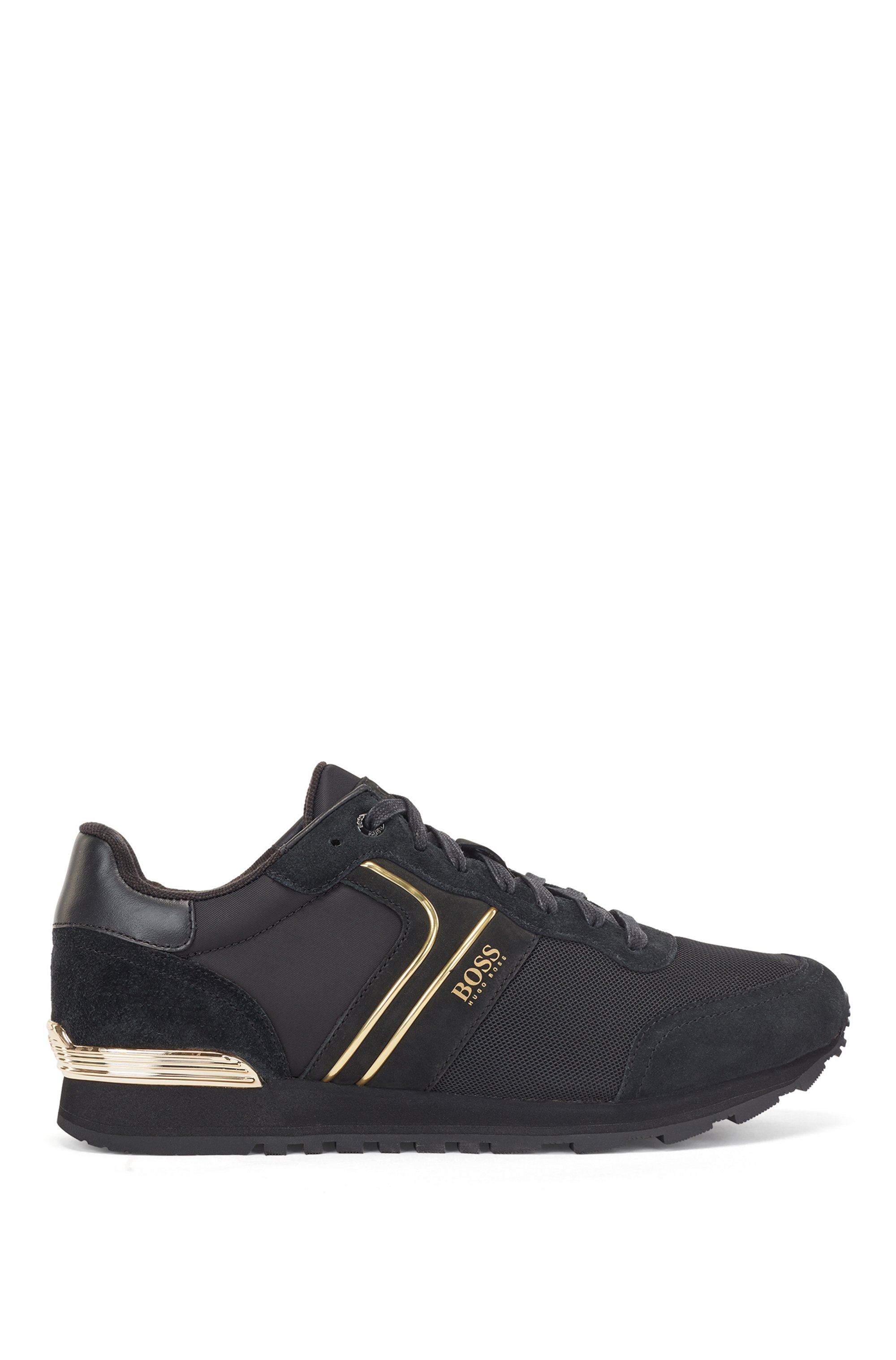 Running-style sneakers with suede and mesh, Black