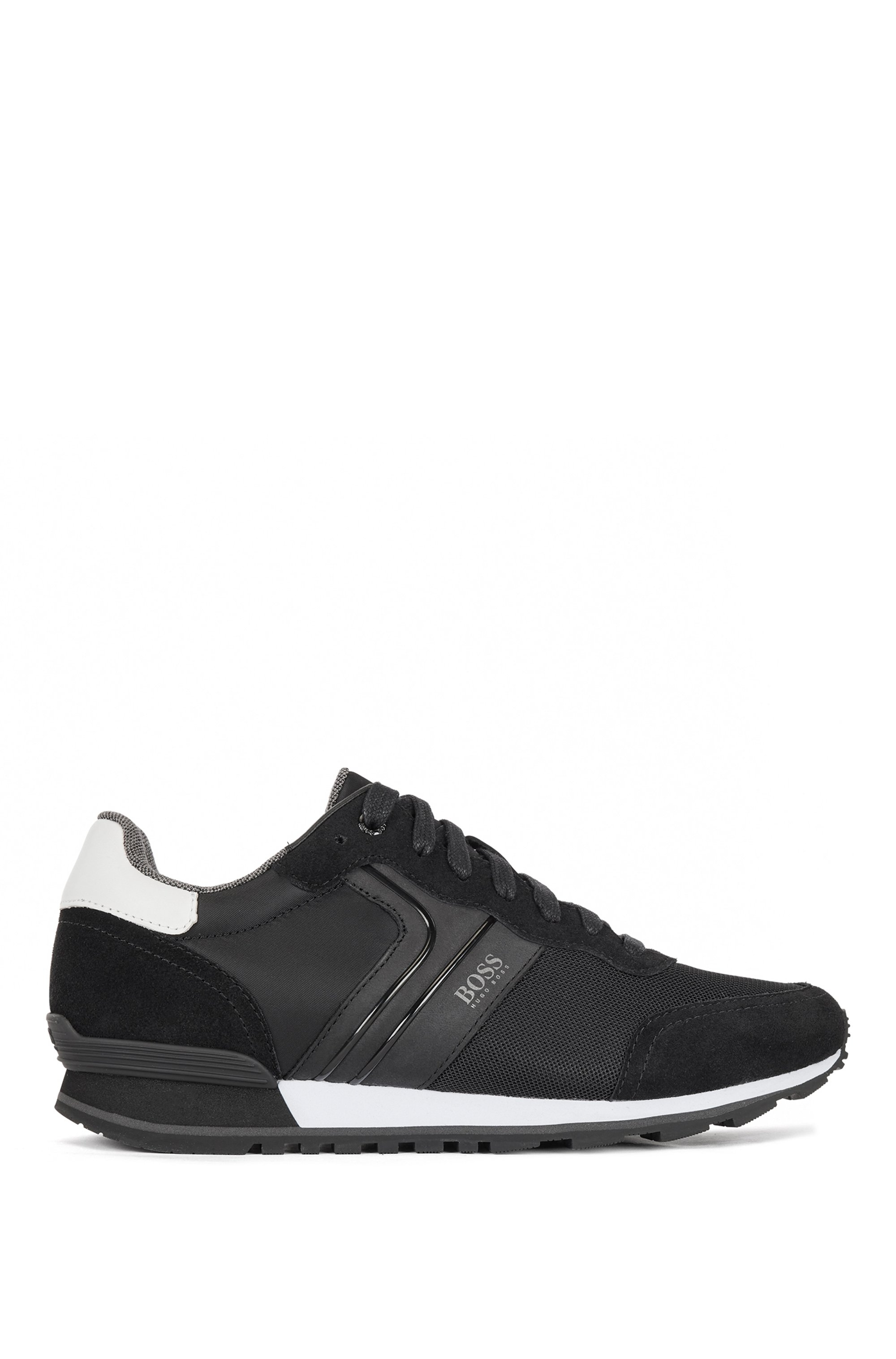 Running-style sneakers with suede and mesh, Dark Blue