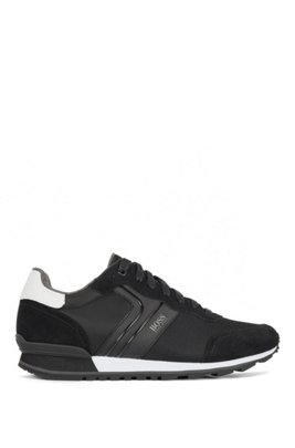 Running-style trainers with suede and mesh, Dark Blue