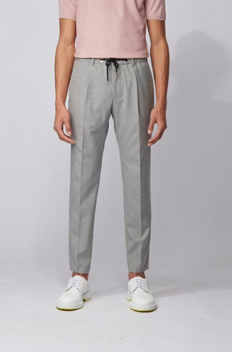 Melange slim-fit pants with drawstring waist, Light Grey