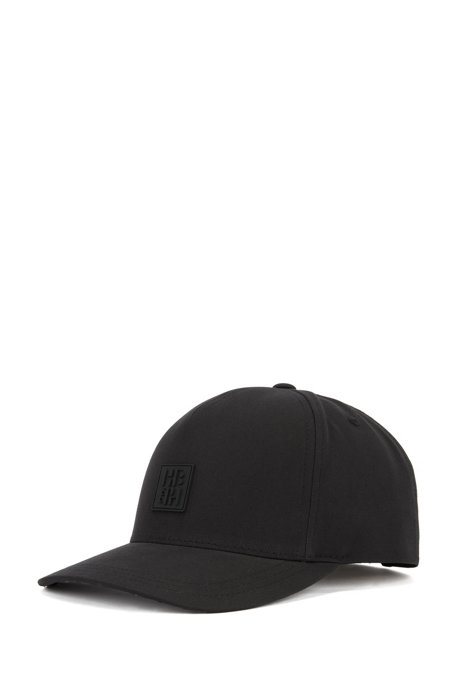 Monogram-print cap in cotton-blend twill, Black