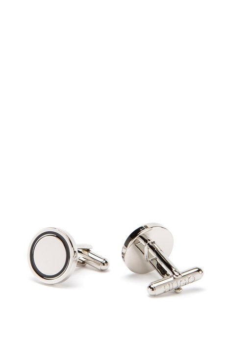 Round cufflinks in polished brass with enamel inset, Black