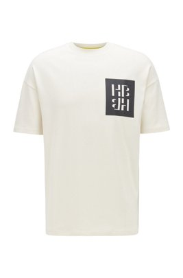 Cotton jersey T-shirt with mixed-print monogram graphics, White