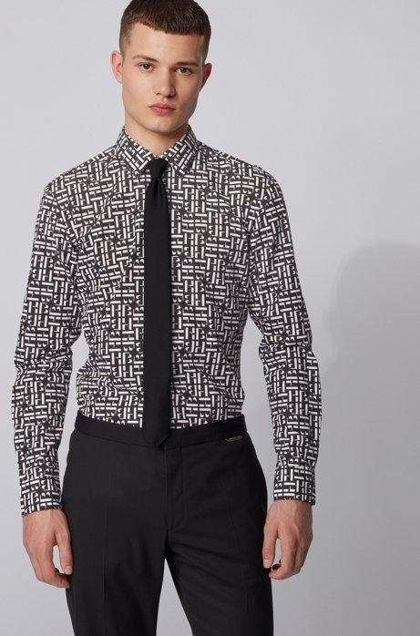 Slim-fit shirt in cotton with monogram print, Black