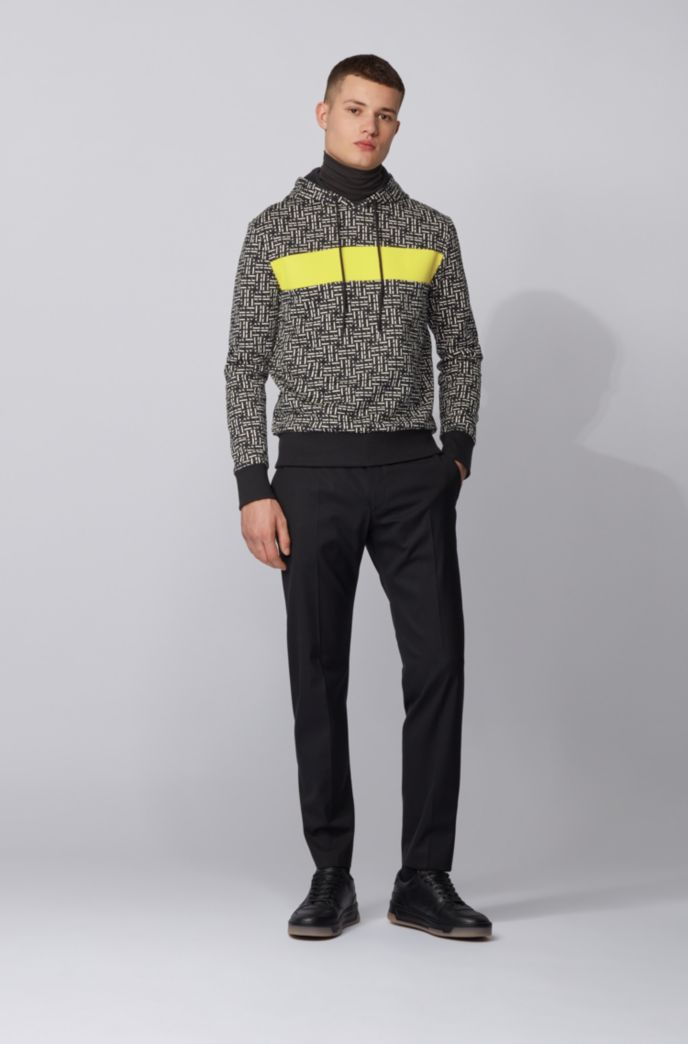 Relaxed-fit hoodie in French terry with monogram pattern