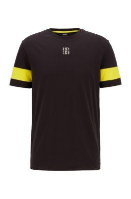 Crew-neck T-shirt in cotton with monogram print, Black