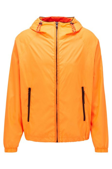 Hooded windbreaker jacket with logo badge, Orange