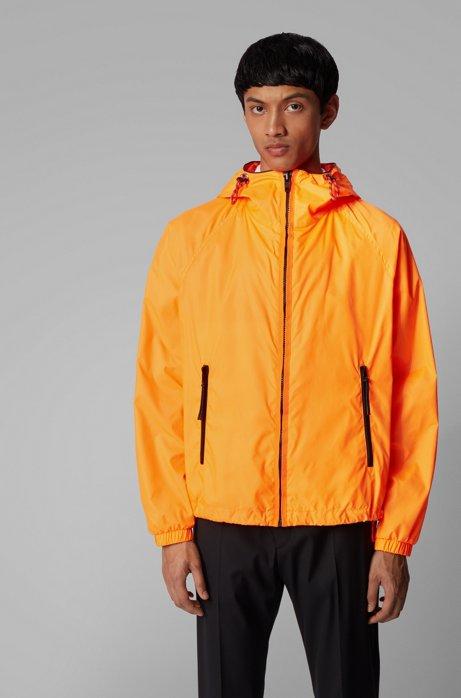 Hooded windbreaker jacket with logo badge, Orange