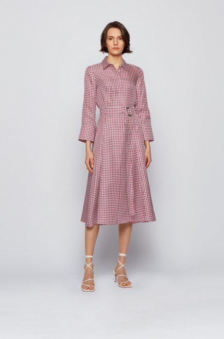 Shirt dress in pure silk with new-season print, Patterned