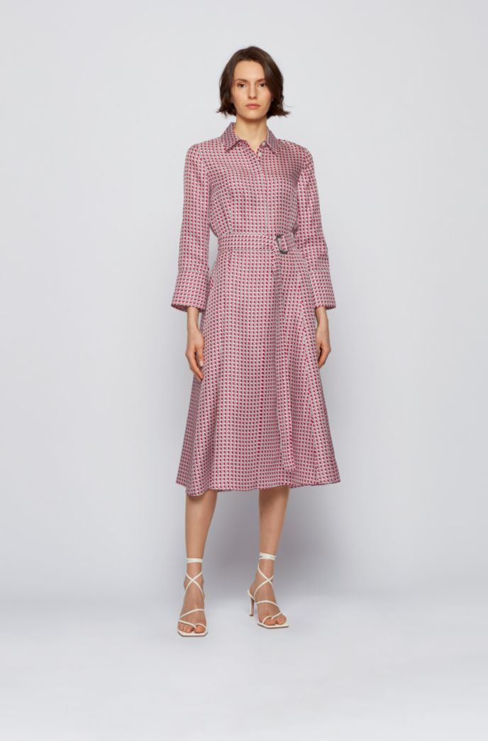 Shirt dress in pure silk with new-season print