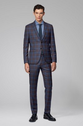 Extra-slim-fit suit in melange virgin wool, Dark Blue