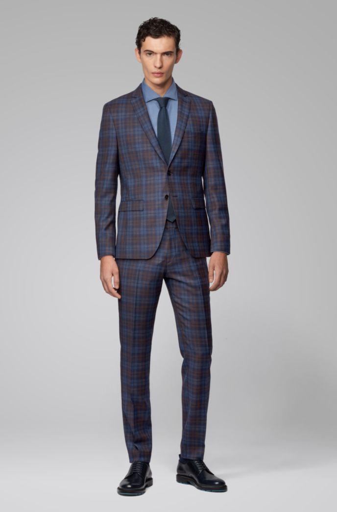 Extra-slim-fit suit in melange virgin wool