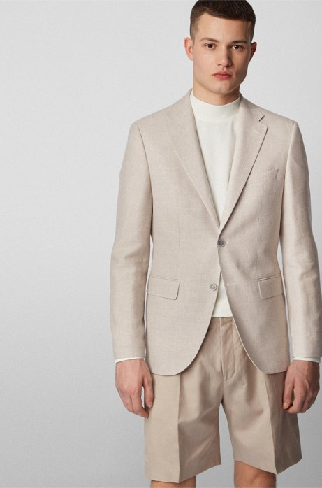 Extra-slim-fit jacket in virgin wool with linen, Natural