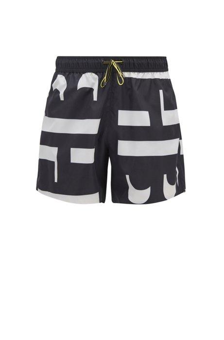 Quick-drying swim shorts with monogram print, Black