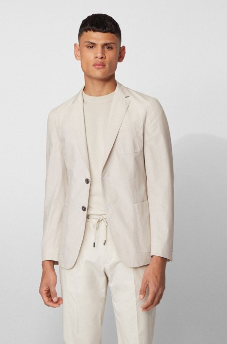 Slim-fit jacket in midweight cotton and patched pockets, Natural
