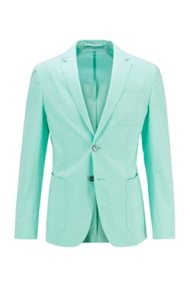 Slim-fit jacket in midweight cotton and patched pockets, Light Green