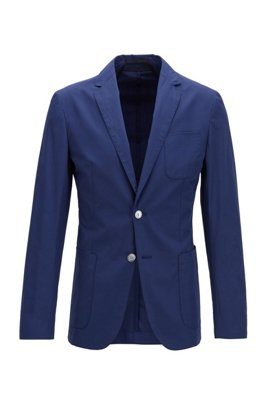 Slim-fit jacket in midweight cotton and patched pockets, Dark Blue