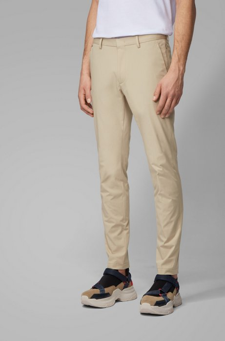 Slim-fit chinos in bi-stretch cotton, Light Beige