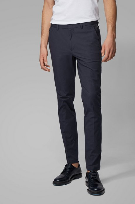 Slim-fit chinos in bi-stretch cotton, Dark Blue