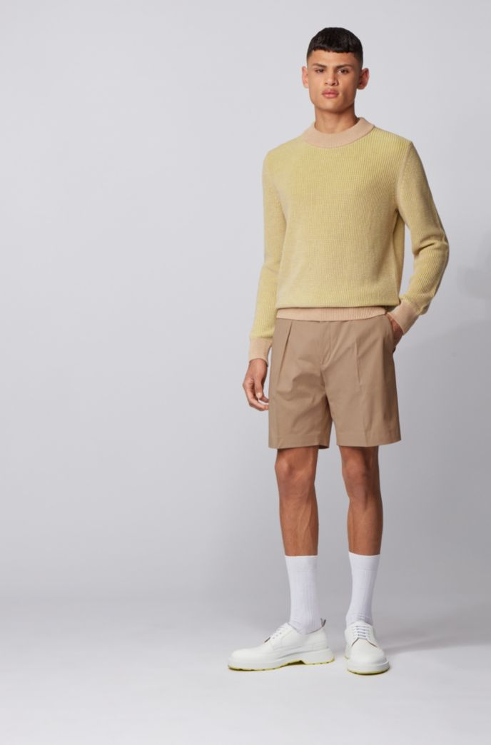Relaxed-fit shorts in stretch cotton with cord trim