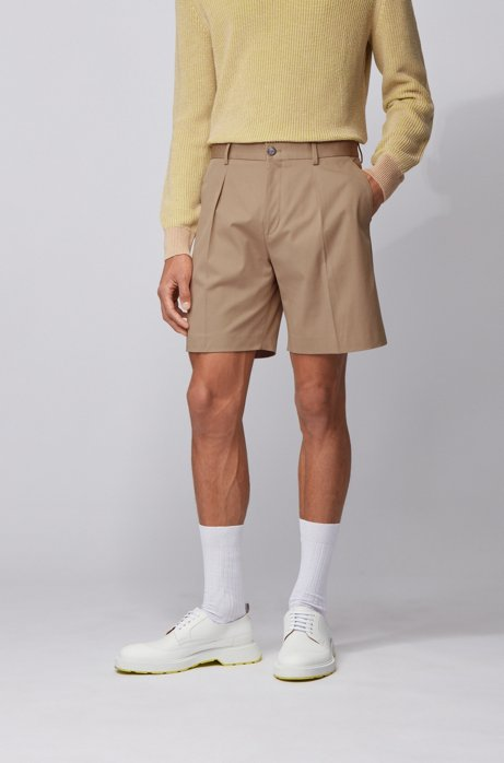Relaxed-fit shorts in stretch cotton with cord trim, Beige