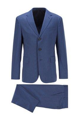 Melange two-piece suit in stretch fabric, Dark Blue