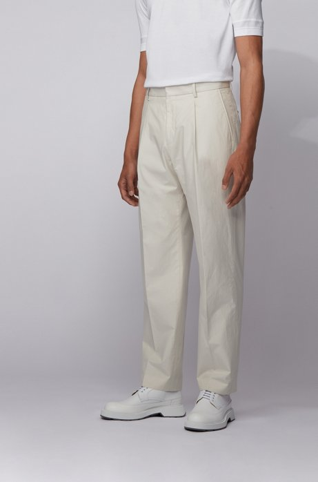 Relaxed-fit pants in cotton with high-rise waist, Natural