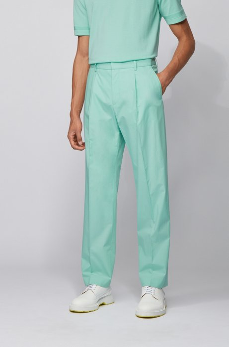 Relaxed-fit pants in cotton with high-rise waist, Light Green