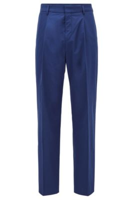 Relaxed-fit pants in cotton with high-rise waist, Dark Blue