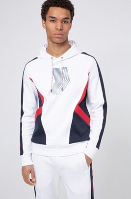 Unisex hooded sweatshirt with collection-themed prints, White