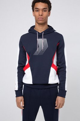 Unisex hooded sweatshirt with collection-themed prints, Dark Blue