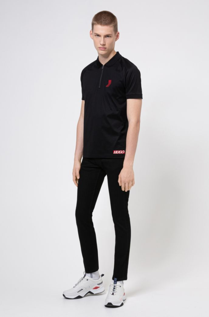 Unisex slim-fit polo shirt in mercerized cotton